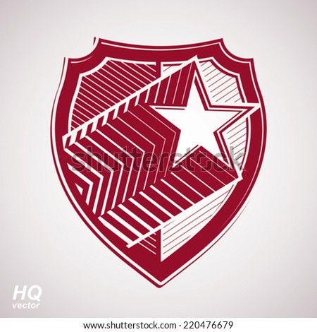 Vector military shield with pentagonal comet star, protection heraldic sheriff blazon. Ussr communistic conceptual symbol. Forces graphical coat of arms. Soviet Union theme. - stock vector