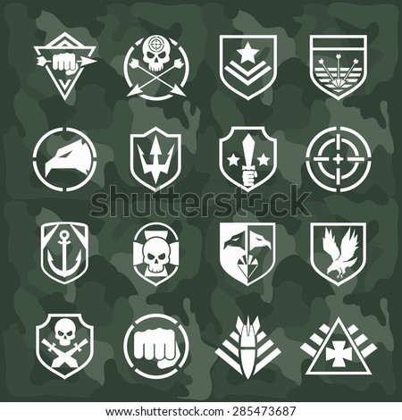 Vector Military Symbol Icons Set Fist Stock Vector