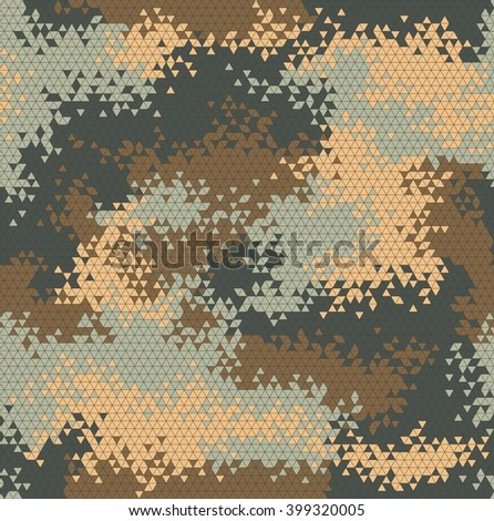 Vector military triangle camouflage seamless pattern. Vector illustration can be used for wallpaper, pattern fills, web page background, print on fabric or wrapping paper. Warm khaki color combination - stock vector
