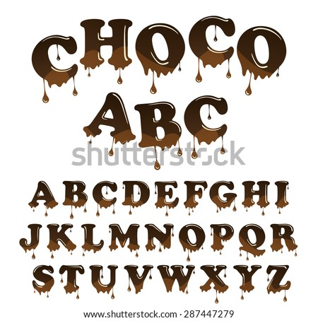 Vector  milk chocolate  alphabet. Shiny, glazed letters set. Glossy typescript design. Melted chocolate font style - stock vector
