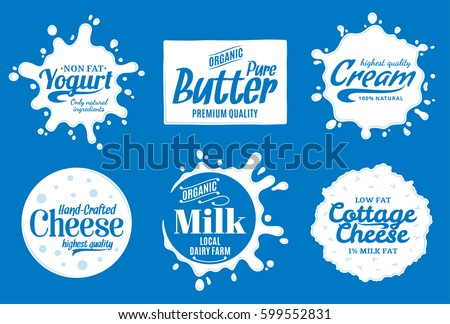 Vector milk product logo. Milk, yogurt, cream, cheese icons and splashes with sample text. Dairy product icons collection for grocery, agriculture store, packaging and advertising