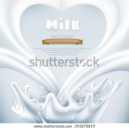 vector. Milk splash in the form of heart on a gray background - stock vector