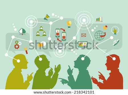 Vector. Mind Map Illustration. Communication mapping. A group of people to communicate on the Internet. - stock vector