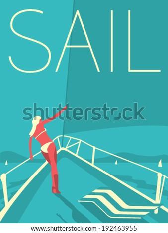 Vector Minimal Design - Sail - stock vector