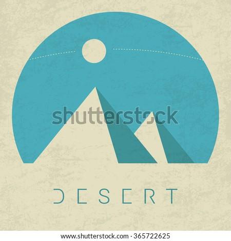 Vector Minimal Poster: Desert - stock vector