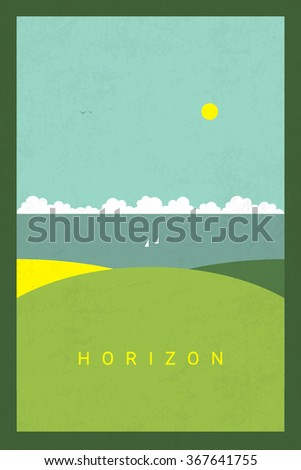 Vector Minimal Poster: Horizon - stock vector