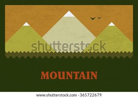 Vector Minimal Poster: Mountain - stock vector