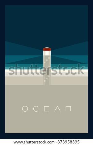 Vector Minimal Poster: Ocean - stock vector