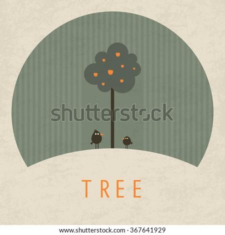 Vector Minimal Poster: Tree - stock vector