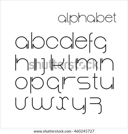 Vector Minimalist Alphabet Lower Case Letters Font Design Black Thin On White Background