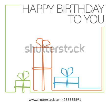 Vector minimalist Birthday card template - continuous line drawing - stock vector