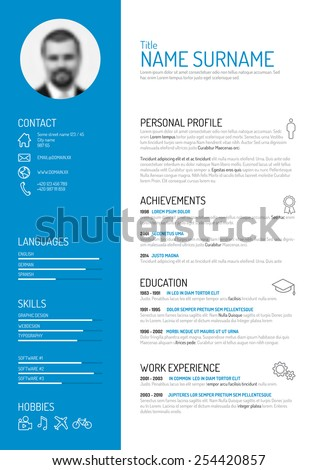 Vector Minimalist Cv / Resume Template  Personal Resume Template