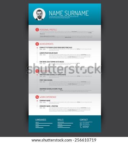 Vector minimalist cv / resume template - stock vector