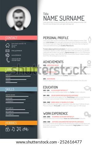 vector minimalist cv resume template dark color version - Photo Resume Template