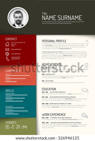 Vector minimalist cv / resume template - dark retro color version