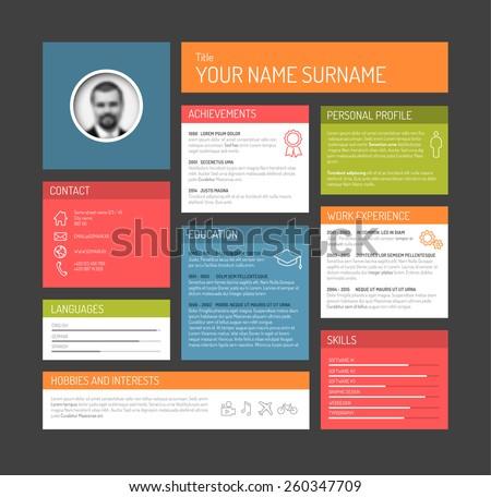 Vector minimalist cv / resume template dashboard profile - dark version - stock vector