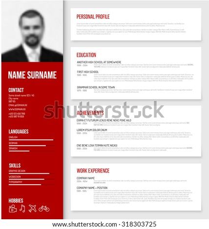 Vector minimalist cv / resume template design with profile photo - red version - stock vector