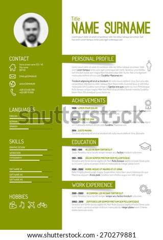 Vector Minimalist Cv / Resume Template   Green Version  What Is A Cv Resume
