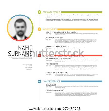 Vector minimalist cv / resume template - minimalistic colorful version - stock vector