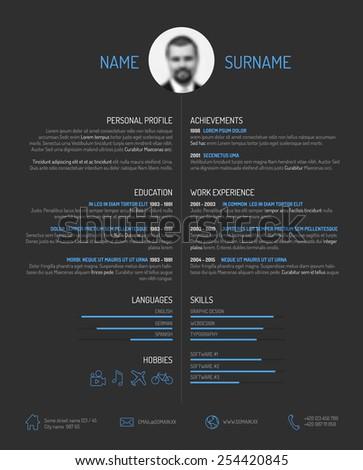 Vector minimalist cv / resume template - minimalistic dark version - stock vector