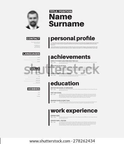vector minimalist cv resume template with nice typogrgaphy design - Cv Resume Sample