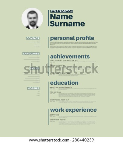vector minimalist cv resume template with nice typogrgaphy design - Nice Resume Template