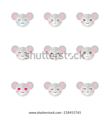 Vector minimalistic flat mouse emotions icon set  - stock vector