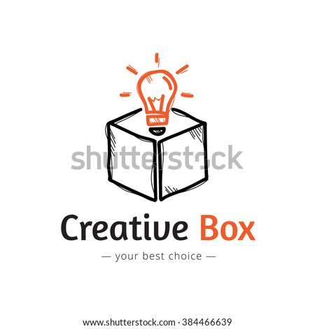 Vector minimalistic light bulb in a box logo. Sketch style logo - stock vector