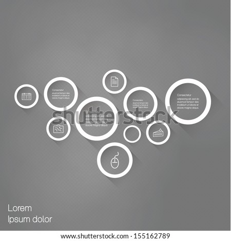 Vector minimalistic template. Outlie bubbles with flat shadow. Abstract template - element for posters, presentations or websites. - stock vector
