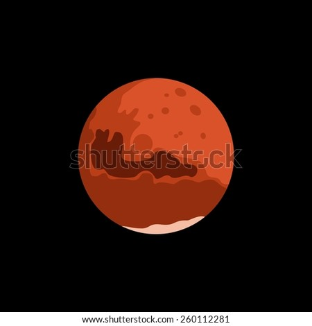 Vector minimalistic vertical banner with Mars in interstellar space. Red planet of Solar System - stock vector