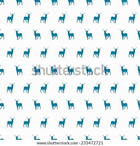 Vector minimalistic winter blue deer seamless pattern - stock vector