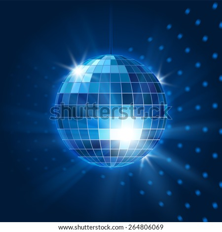 Vector mirror disco ball. Nightclub object, nightlife and bright and party. Vector illustration - stock vector