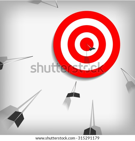 Vector : Miss and on target bow - stock vector