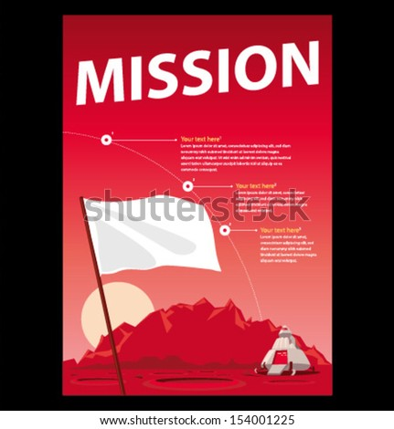 Vector mission to mars poster - stock vector