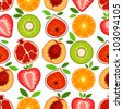 Vector mixed fruit pattern - stock vector