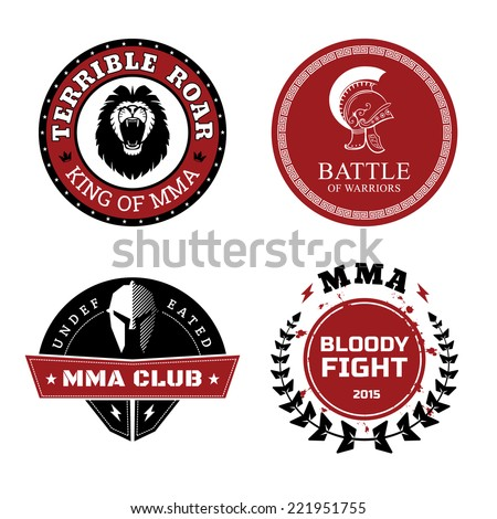 Vector MMA Labels - Mixed Martial Arts Design Isolated on White Background. - stock vector