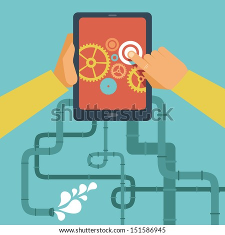 Vector mobile app development concept - hands holding tablet pc - stock vector
