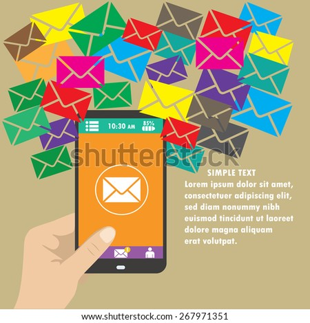 Vector mobile app - email marketing and promotion. - stock vector