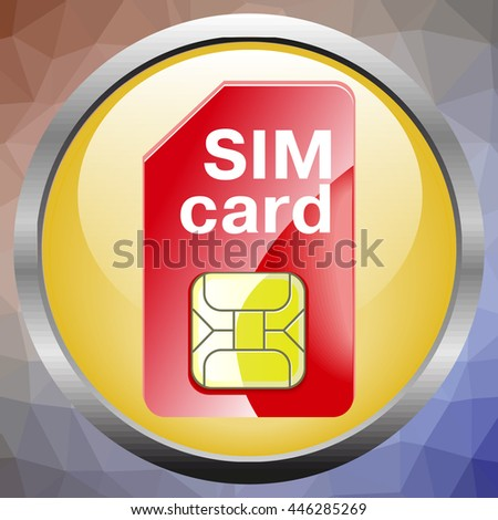 Vector Mobile Cellular Phone Sim Card Chip Isolated on Background - stock vector