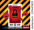Vector : Mobile Phone Antivirus Concept Present By White Smart Phone With Red Virus and The Key Lock on Screen in Caution Zone Dark and Yellow Background - stock vector