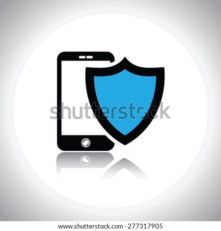 vector mobile phone security shield - stock vector
