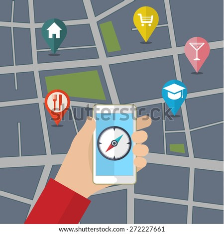 Vector mobile phone with compass on screen. Gps concept in flat style - stock vector
