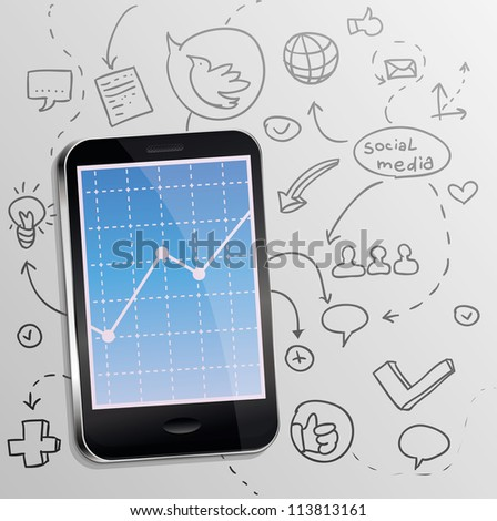 Vector mobile phone with social media concept - marketing and promotion - stock vector