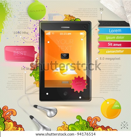 Vector mobile phone with tags, stickers and headphones - stock vector