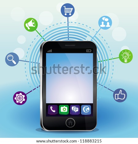 Vector mobile phone with touchscreen and social media icons - technology concept - stock vector