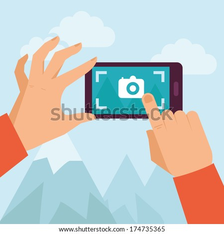 Vector mobile phone with touchscreen - man taking photograph with digital device - flat icon - stock vector
