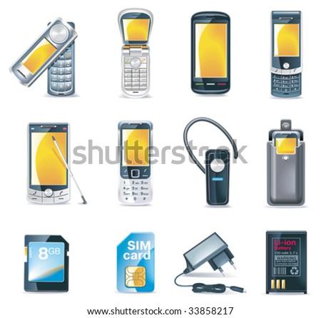Vector mobile phones icon set - stock vector