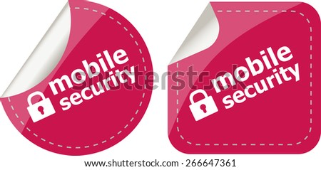 vector mobile security stickers label tag set isolated on white - stock vector