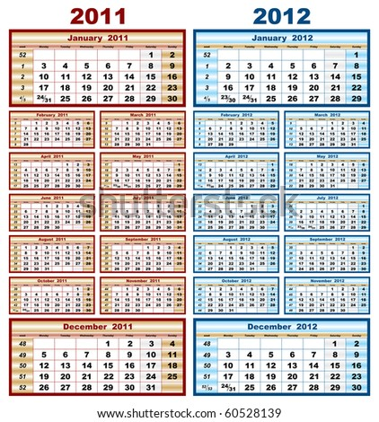 vector model calendar grid in 2011 and 2012 - stock vector