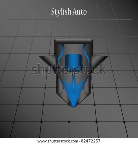 Vector model stylish car on a dark background. Top view